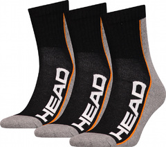 Head 3P Stripe Short Crew Black/Grey/Orange