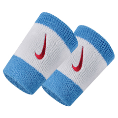 Nike Swoosh Double Wide Wristband White/Blue N000158615OS